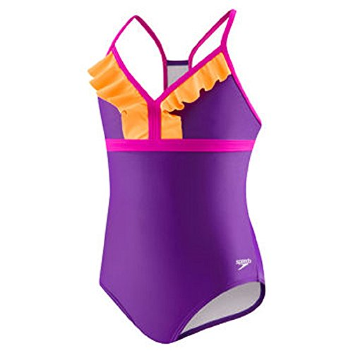 Speedo Big Girls One Piece Sporty Back Ruffle Swimsuit (8, Purple)