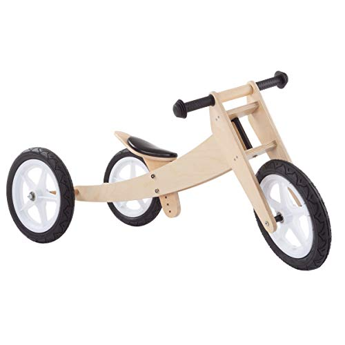 Wooden Bike Training - Lil' Rider 3-in-1 Balance Bike - Multistage Wooden Walking Beginner Tricycle Convertible Ride on Boys & Girls Toy for Indoor & Outdoor Play