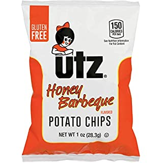 Utz Potato Chips, Honey Barbeque – 1 oz. Bags (60 Count) – Crispy Potato Chips Made from Fresh Potatoes, Crunchy Individual Snacks to Go, Cholesterol Free, Trans-Fat Free, Gluten Free Snacks