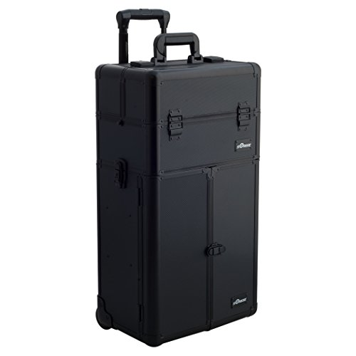 SUNRISE Makeup Rolling Case 2 in 1 Professional Artist I3265, French Doors, 3 Sliding Tray and 4 Drawers, Locking with Mirror,  Black Dot by SunRise