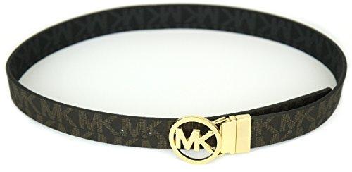 Michael Kors Mk Signature Monogram Belt and Buckle Reversible, Chocolate, Medium ()