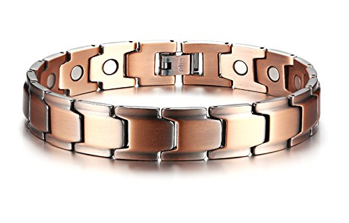 Matt Adjustable Nickel (Elegant Pure Copper Magnetic Therapy Bracelet Pain Relief for Arthritis and Carpal Tunnel, Free Links Removal Tool)