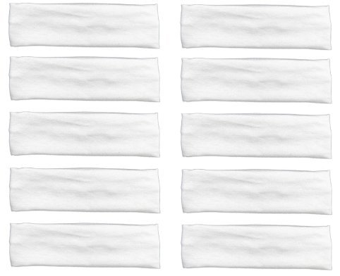 Accessory Wrap Hair (10 Pack Cotton Yoga Headbands by Teemico - Cotton Stretch Headbands Elastic Yoga Hairband for Teens Girls Women Exercise Running Sports Hair Wrap Accessories,White)