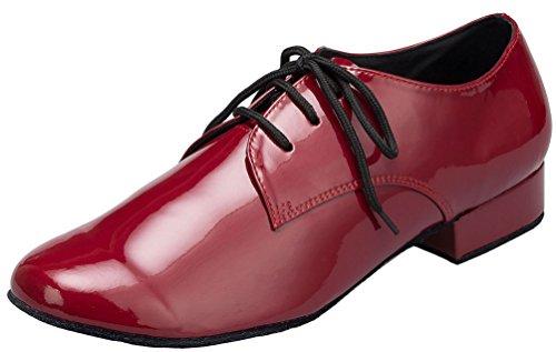 Abby Yfyc-l146 Hombres 1 Pulgada Profesional Jazz Práctica Pu Danza Zapatos Rojo