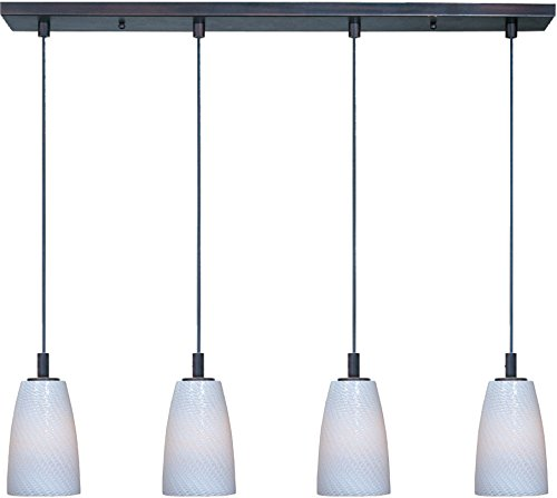 ET2 E92044-13BZ Carte 4-Light Linear Pendant, Bronze Finish, White Ripple Glass, MB Incandescent Bulb, 7W Max., Dry Safety Rated, 3000K Color Temp., Electronic Low Voltage (ELV) Dimmable, Shade Material, 2100 Rated Lumens