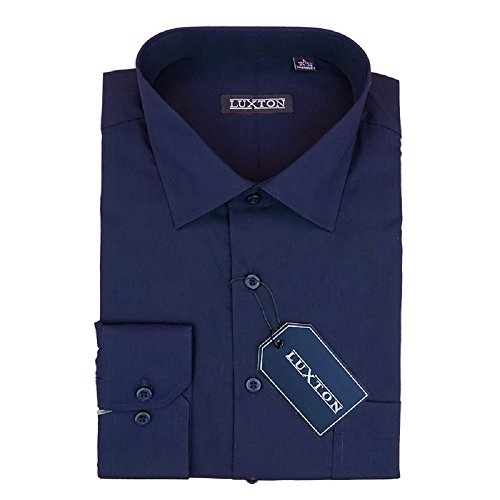 Luxton Cotton Poly Shirt Collection Regular Fit (Navy 09,X-Large/Neck:17-17 1/2, Sleeve:32/33) Blue Formal Shirt