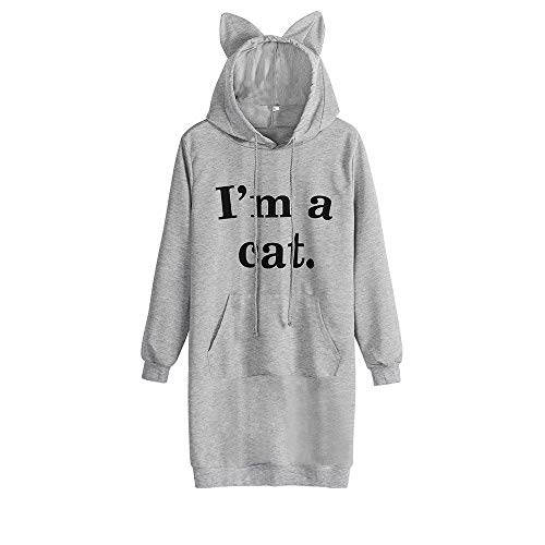 Women's Clothing,Womens Cat Ear Solid Long Sleeve Hoodie Sweatshirt Hooded Pullover Mini Dress,Grey,XL