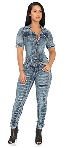 Butt Lifting Levanta ColaAcid Wash Denim Jumpsuit with Cut Out Back-9