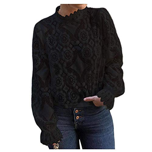 (Women's Mock Neck Long Sleeve Floral Mesh Lace Sheer Crochet Blouse Top T-Shirt (Black, Small))