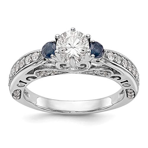 14k White Gold Diamond Semi-Mount w/Sapphire Engagement Ring Size 7 Length Width