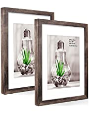Metrekey 11x14 Picture Frame with Removable Mat for 8X10 Pictures Wood Grain 11x14 Photo Frames for Wall Decor and Tabletop Display Walnut 2 Pack