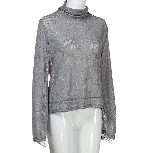 longues Sweatshirt à Tops tricot longues maillots vrac shirt d'hiver en pull manches col T en Pull femme roulé à Blouse Zhrui manches Pull chandails qCvd1q