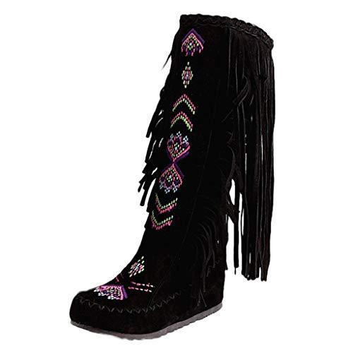 Creazrise Women's Fringe Moccasin Flat Heel Zipper Under Knee High Boots Embroidery Booties (Yellow,7) ()
