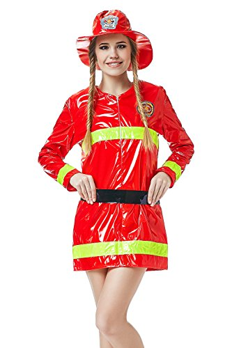 Adult Women Firewoman Costume Firefighter Role Play Fire Hero Rescuer Dress Up (Small/Medium, Red, Yellow, Black)