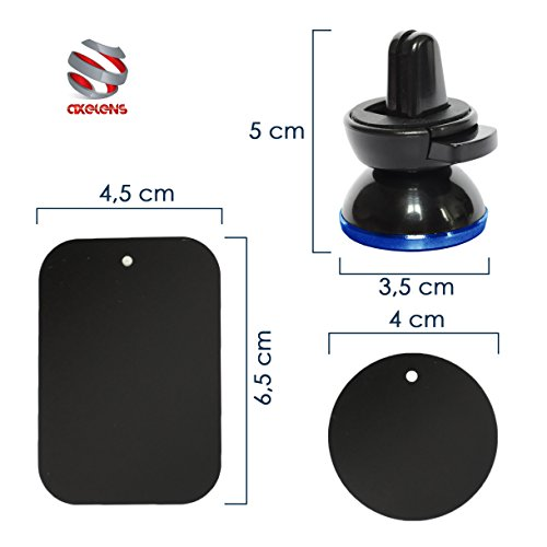 Soporte magnético de coche, universal para smartphone y dispositivos GPS Negro/Azul