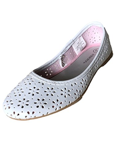 Xhilaration Girls White Cut Out Flower Flats Mary Janes Natausha Ballet Shoes ()