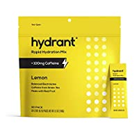 Hydrant Caffeine & L-Theanine Rapid Hydration Drink Mix, Electrolyte Powder Packets with Zinc, Use for: Workout, Sweating, Travel & Heat Recovery, Vegan, Lemon Flavor (30 Pack)