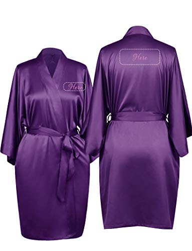 AW Personalized Mrs. Satin Bridal Robes Kimono Wedding Party Gift with Embroidered Custom, Eggplant, M