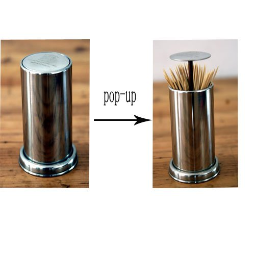 Elife set of 2 pop up retractable stainless steel toothpick holder dispenser home garden kitchen - Stainless steel toothpick dispenser ...