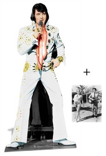 Fan Pack - Elvis Presley Las Vegas White Suit Lifesize Cardboard Cutout / Standee - Includes 8x10 (25x20cm) Star Photo by (Starstills UK) Celebrity Fan Packs