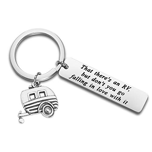 POTIY Happy Camper RV Keychain for Christmas Vacation Movie Fan That There's an RV Jewelry Cousin Eddie's RV Christmas (That There's an RV Keychain) ()