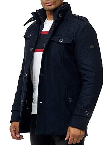Indicode Manteau en laine Brandan pour homme – Veste d'hiver chaude avec col montant en laine mélangée.