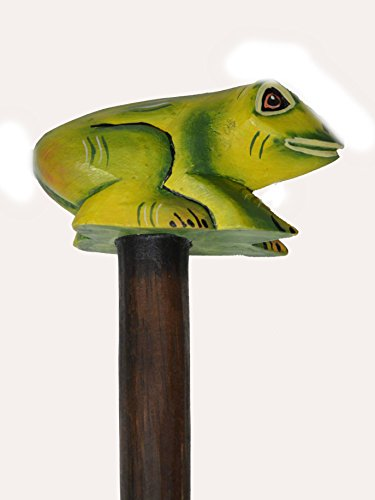 HAND CARVED WOOD FROG WALKING STICK CANE ART WHIMSICAL TROPICAL SAFARI by WorldBazzar