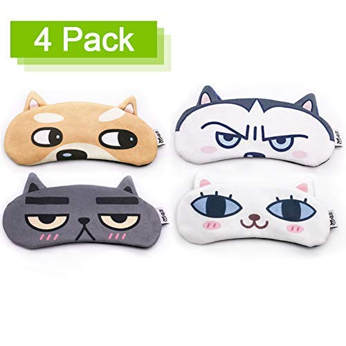 Cute Eye Mask Sleep Masks Sleeping Mask,Super Soft and Light for Insomnia Puffy Eyes, Shift Work Blindfold Eyeshade for Kids Women Men - 4 Count