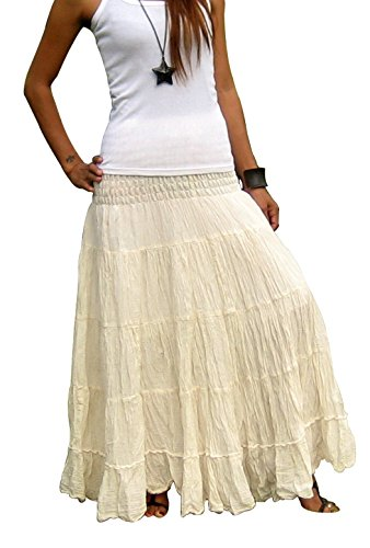 Women's Plus Size Long Maxi Pleated Skirt with Elastic Waist One Size Fits Most. Cream ()