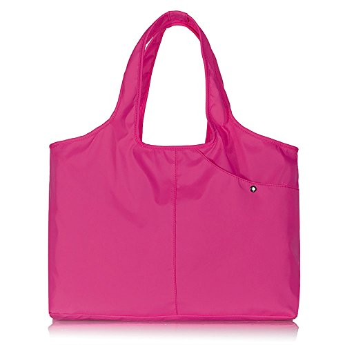- Volcanic Rock Waterproof Shoulder Bag Lightweight Totes Water-Resistant Nylon Large Capacity Purse(8045_Hotpink)