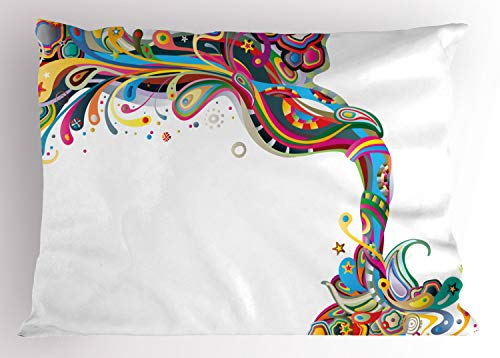 Lunarable Festival Pillow Sham, Abstract Composition of Primavera Inspirational Joyful Twist Carnival Concept, Decorative Standard King Size Printed Pillowcase, 36 X 20 Inches, Multicolor
