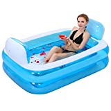 Inflatable Folding Bathtub, Big Size Double Portable Tub Blue Bath Thicker Insulation Adult Home SPA Children Anti-slippery Swimming Pool, Foldable Travel Air Shower Basin Seat Baths