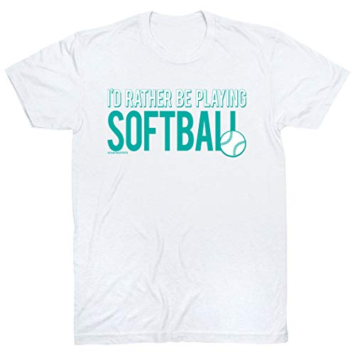 - I'd Rather Be Playing Softball T-Shirt | Softball Tees by ChalkTalk SPORTS | White | Youth Large