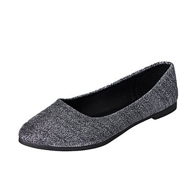 Cómodo y elegante soporte de zapatos de las mujeres pisos primavera otoño Casual sintética comodidad plana talón otros negro púrpura plata Walking morado