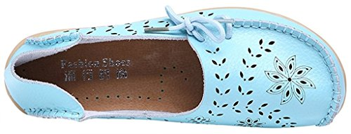 Fangsto Women's Floral Leather Slipper Loafer Flats Shoes Slip-ONS Sty-2 Baby Blue x3jouvO