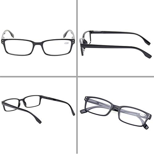 READING GLASSES 4 Pack Spring Hinge Comfort Readers Plastic Includes Sun Readers (2 Black 2 Tortoise, 1.25)