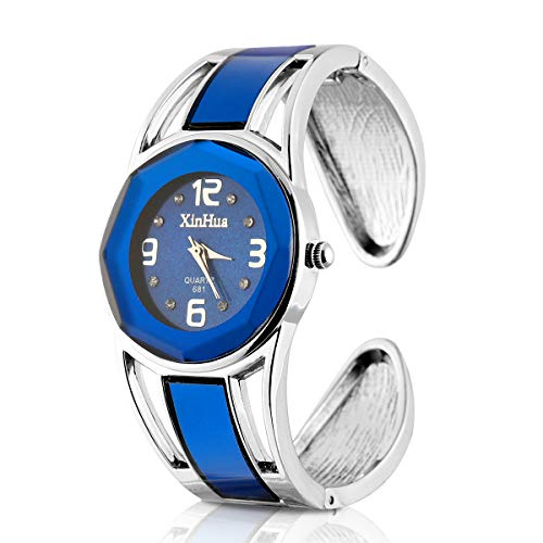 (ELEOPTION Women's Bangle Watch Bracelet Design Quartz Watch with Rhinestone Round Dial Stainless Steel Band Wrist Watches Free Women's Watch Box (XINHUA-Jewelry Blue))