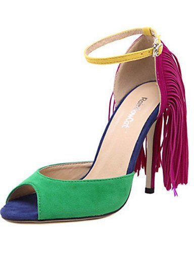 lfnlyx de zapatos de mujer Piel Sintética Tacón Stiletto Tacones/Open Toe sandalias exterior/Casual Negro/Verde Verde - verde