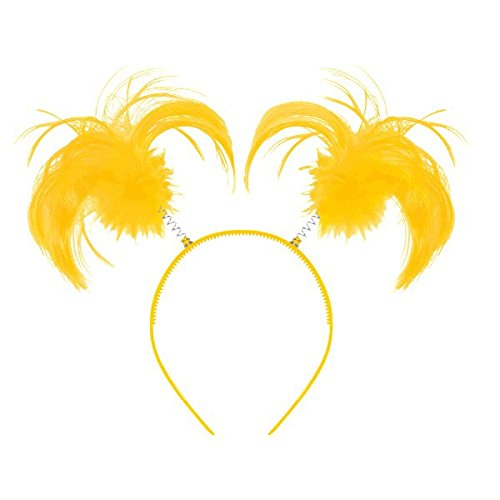 Amscan Feathers & Ponytails Headband (1 Piece), Yellow, 7.5 x 4.3""