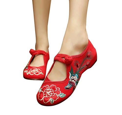 BININBOX Women Embroidered Floral Phoenix Shoes Strap Buttons Bridal Casual Shoes Red lCB8g