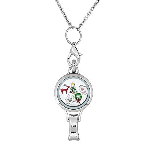 CharmSStory 30mm Floating Locket Necklace with Beaded Lanyard ID Badge Holder (Christmas Style) (Beaded Christmas Lanyards)