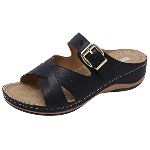 ◕‿◕Water◕‿◕ Women's Slipper, Women Summer Open Toe Hook Loop Comfy Sandals Casual Wedges Non-Slip Slippers Black (Women Armani Slippers)