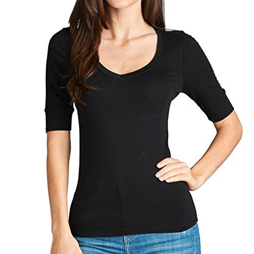 Women's Basic Elbow Sleeve V-Neck Cotton T-Shirt Plain Top (Plus