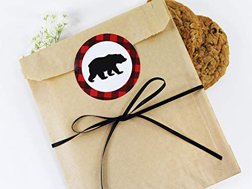 - Rustic, Lumberjack Bear Cookie Favor Bag Set with Sticker and Satin Ribbon. Set of 25-8x6x1 Eco-Friendly Kraft Paper Party Gift Bags,Stickers & Ribbon. Brown, Black, Red, White