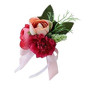 Dovewill Wedding Tea Rose Carnation Corsage Bridal Groom Flower Brooch Pin Party Decor 7