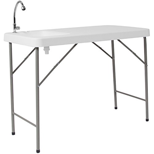 Flash Furniture 23''W x 45''L Granite White Plastic Folding Table with Sink by Flash Furniture