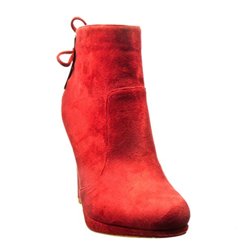Red Node Low Angkorly Ankle Boots Sexy 11 Heel Boots Fashion Stiletto Booty Shoes cm Metallic high Women's Knot HvwqSxvYrT