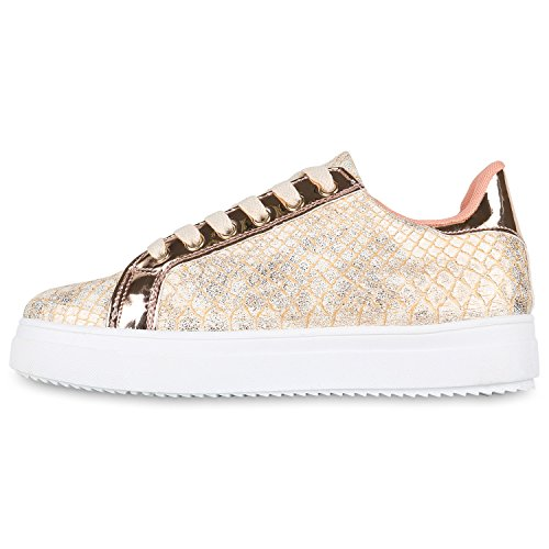 Stiefelparadies Plateau Sneakers Damen Sneaker Low Glitzer Metallic Schuhe Sportschuhe Strass Turnschuhe Lack Animal Print Camouflage Flandell Rose Gold Kroko