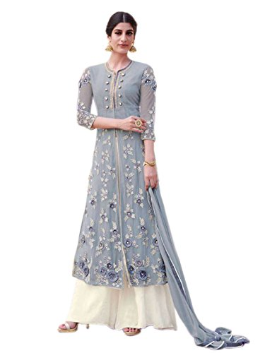 Shoppingover Indian ethnic Bollywood Party Wear Anarkali Suit In Georgette & Net Fabric-Greay Color