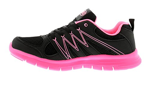 Airtech New Ladies/Womens Black/Coral Sabre Lace Ups Trainers - Black/Coral - UK Sizes 4-8 qamKT7Dg0j